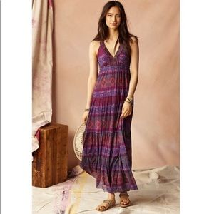 Anthropologie Weston purple print maxi dress